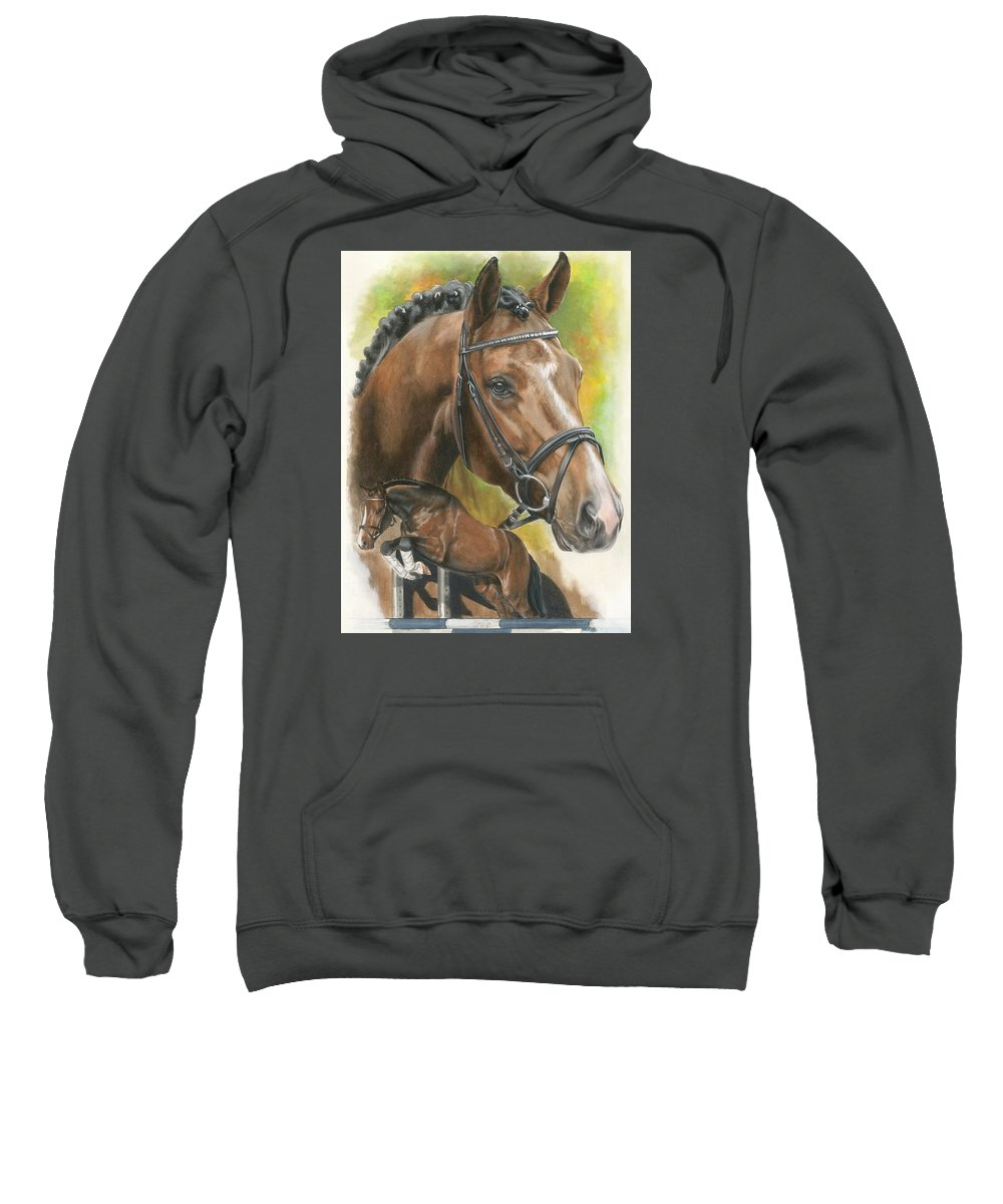 Hunter Jumper Sweatshirt featuring the mixed media Oldenberg by Barbara Keith
