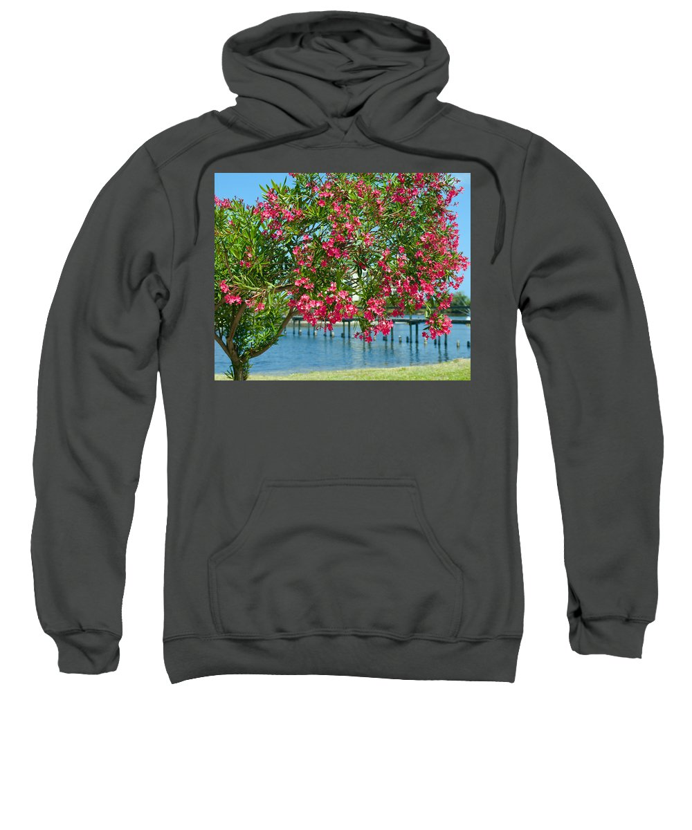 Florida; Indian; River; Melbourne; Nerium; Oleander; Red; Pink; Flower; Bush; Shrub; Poison; Poisono Sweatshirt featuring the photograph Oleander On Melbourne Harbor In Florida by Allan Hughes