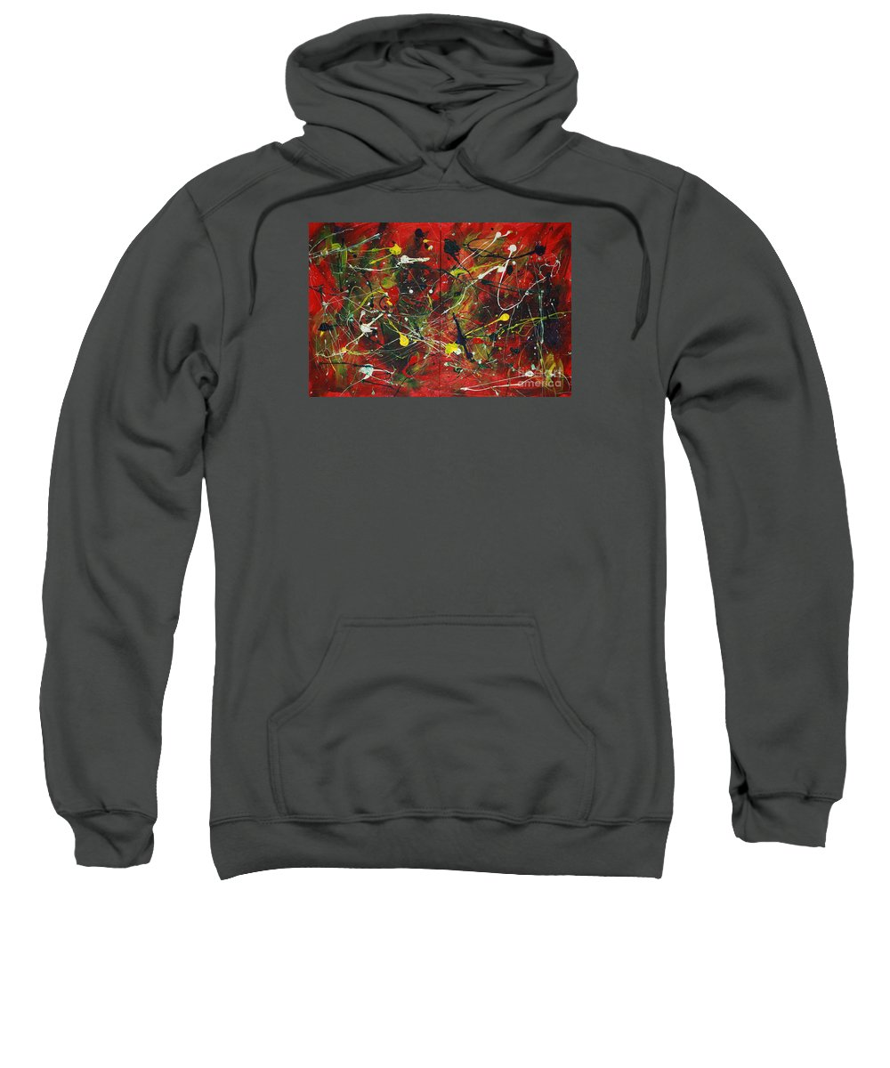 Splatter Sweatshirt featuring the painting On A High Note by Jacqueline Athmann