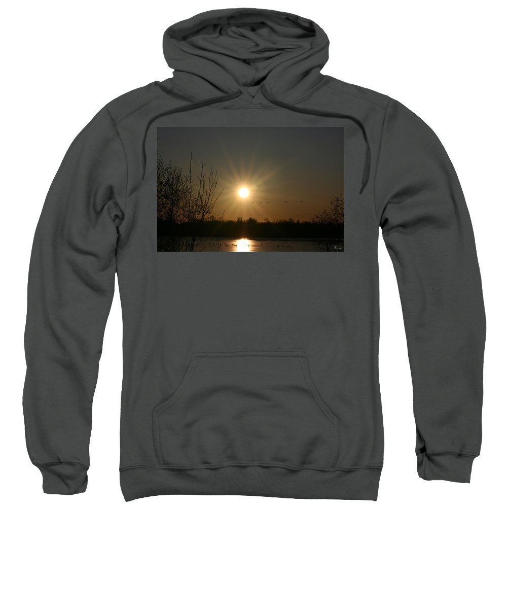 Geese Water Lake Ice Trees Nature Sunrise Sun Cold Morning Ducks Birds Sweatshirt featuring the photograph On Frozen Pond by Andrea Lawrence