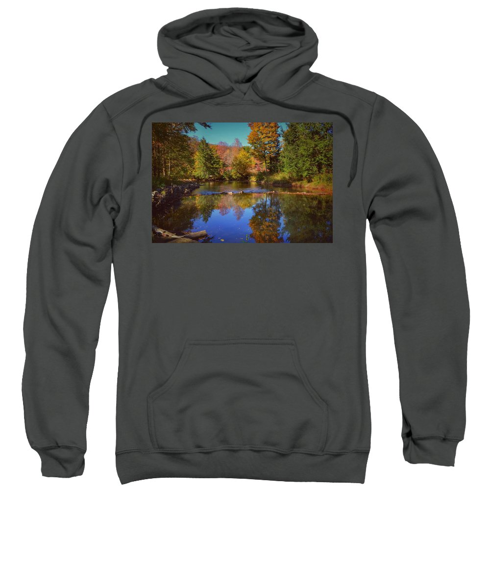 Reflections Sweatshirt featuring the photograph On Kinzua Creek by Shelley Smith