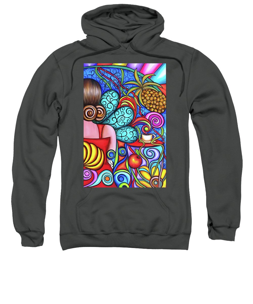 Cuba Sweatshirt featuring the painting On My Mind by Annie Maxwell