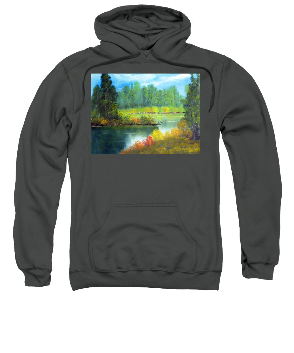 Oil Painting Sweatshirt featuring the painting On The Lake by Barry Jones