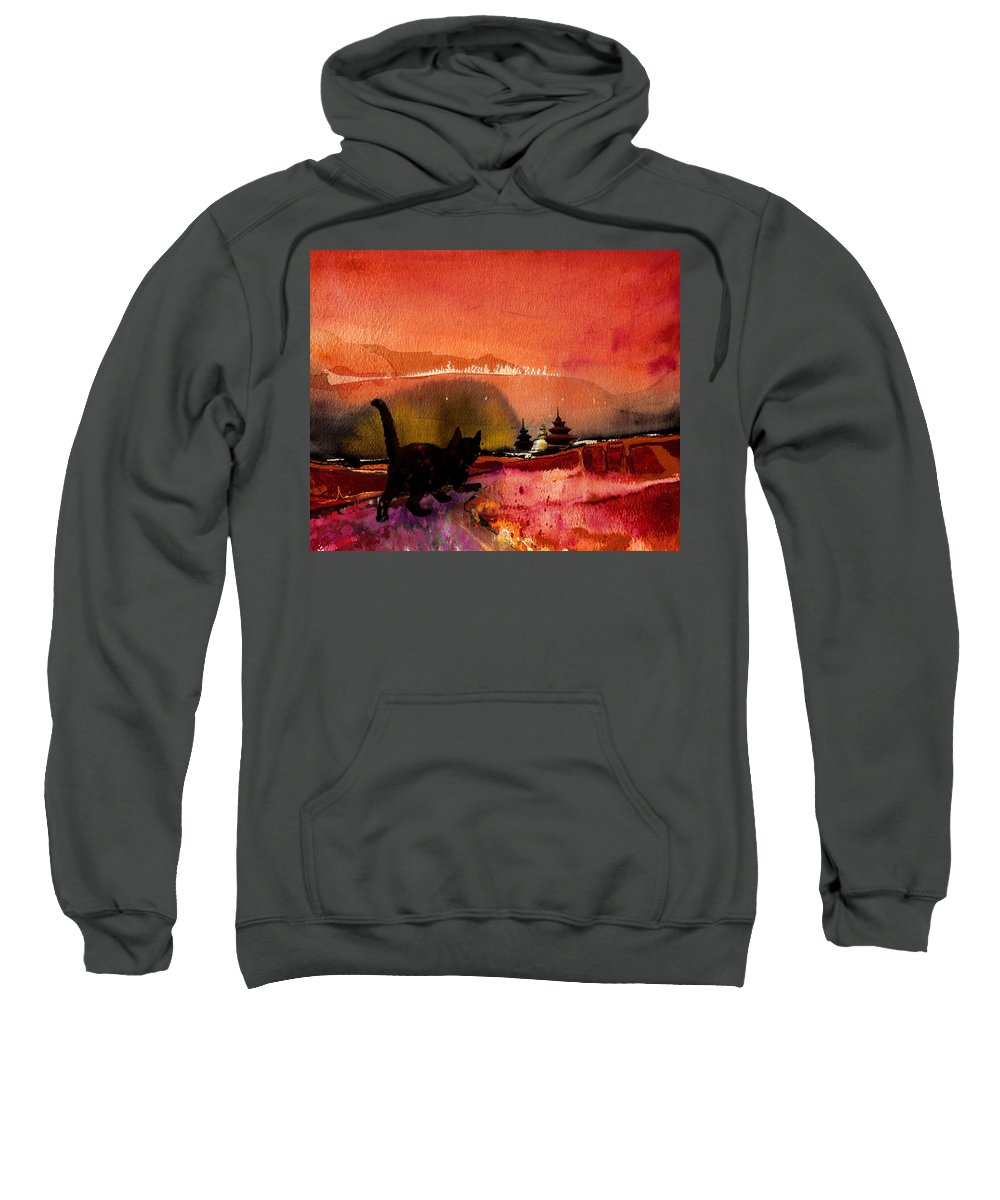 Animals Sweatshirt featuring the painting On The Road To Catmandu by Miki De Goodaboom
