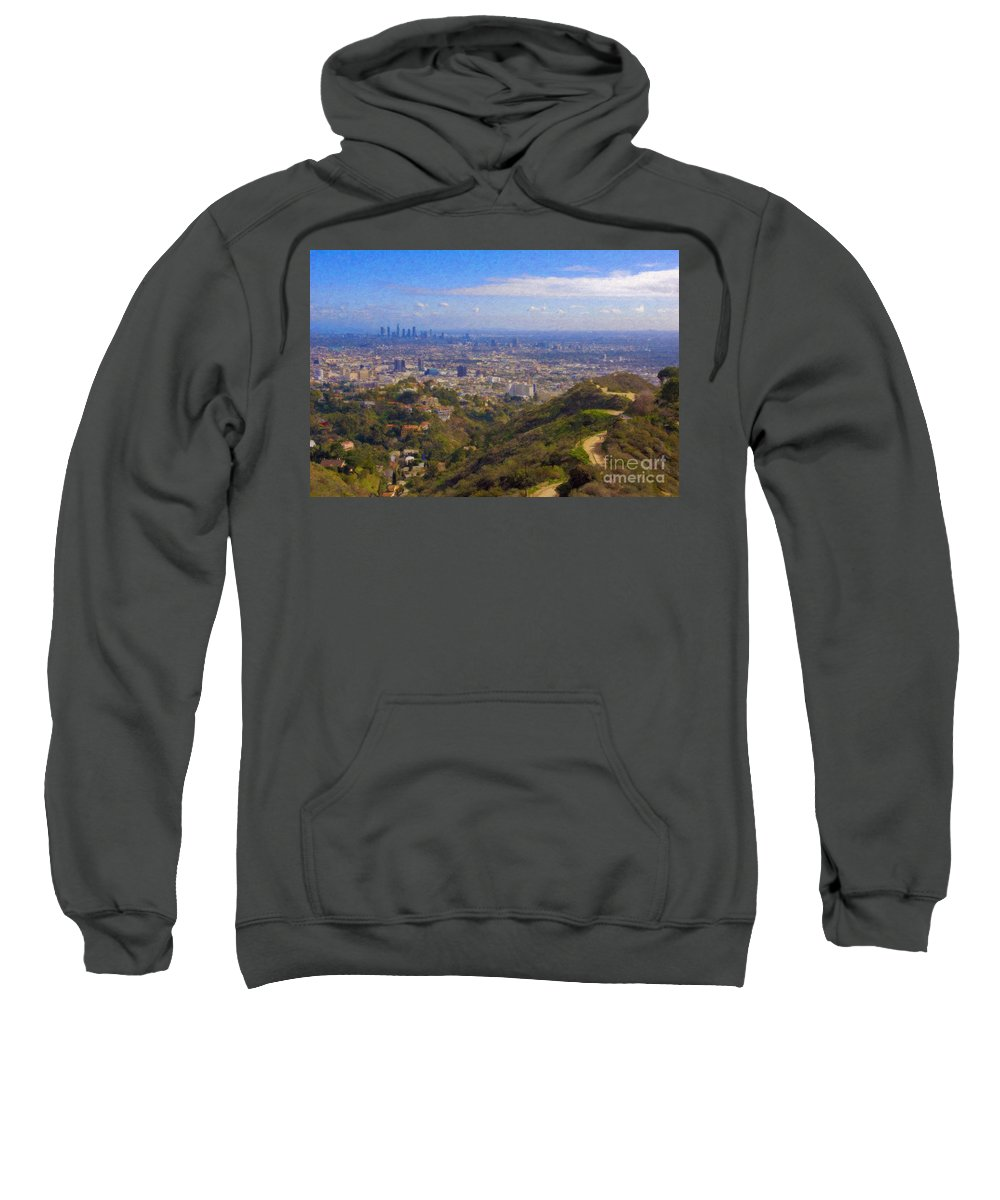 Los Angeles Sweatshirt featuring the photograph On The Road To Oz La Skyline Runyon Canyon Hiking Trail by David Zanzinger