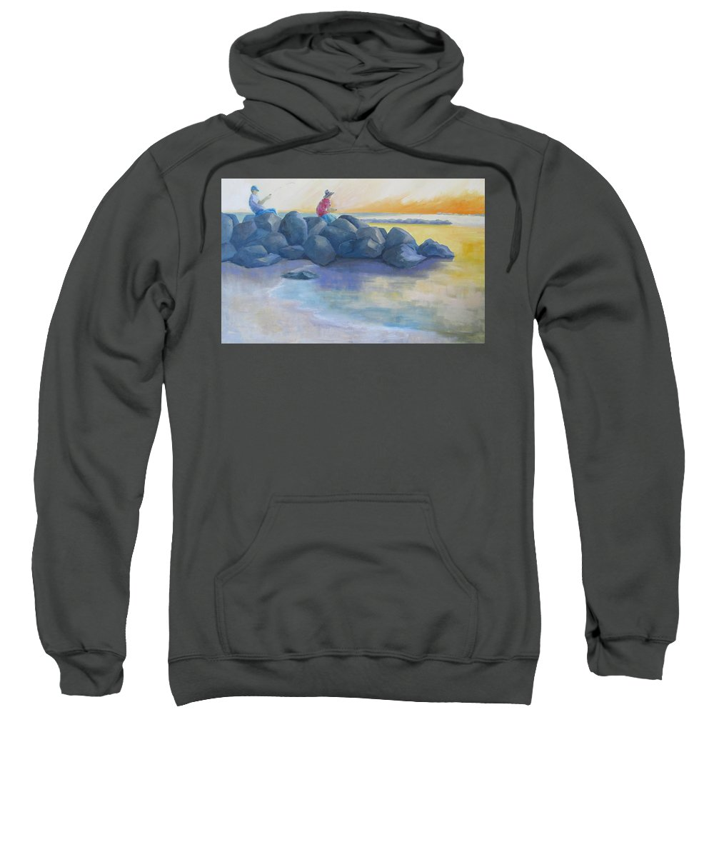 Fishing Sweatshirt featuring the painting On The Rocks by Susan Richardson
