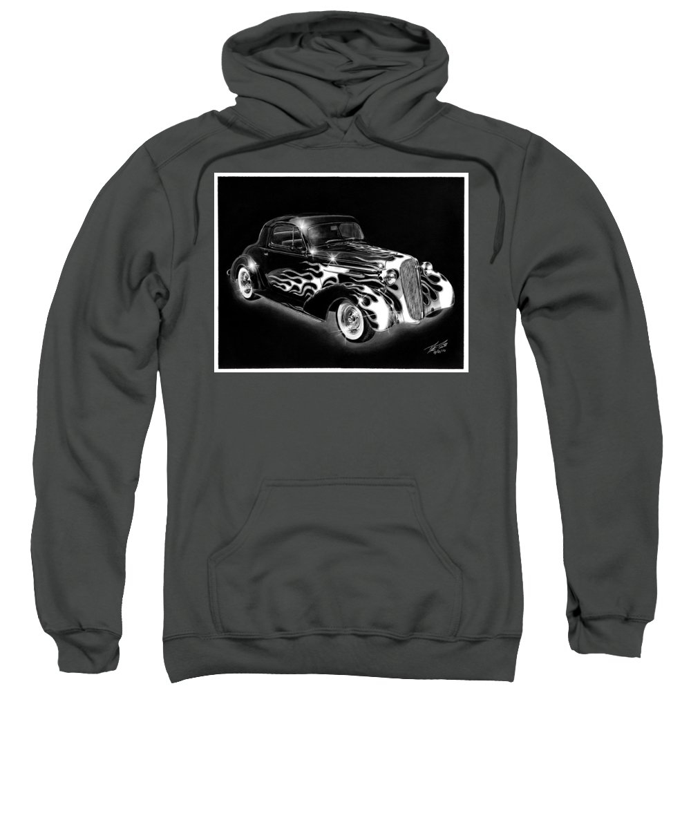 One Hot 1936 Chevrolet Coupe Sweatshirt featuring the drawing One Hot 1936 Chevrolet Coupe by Peter Piatt