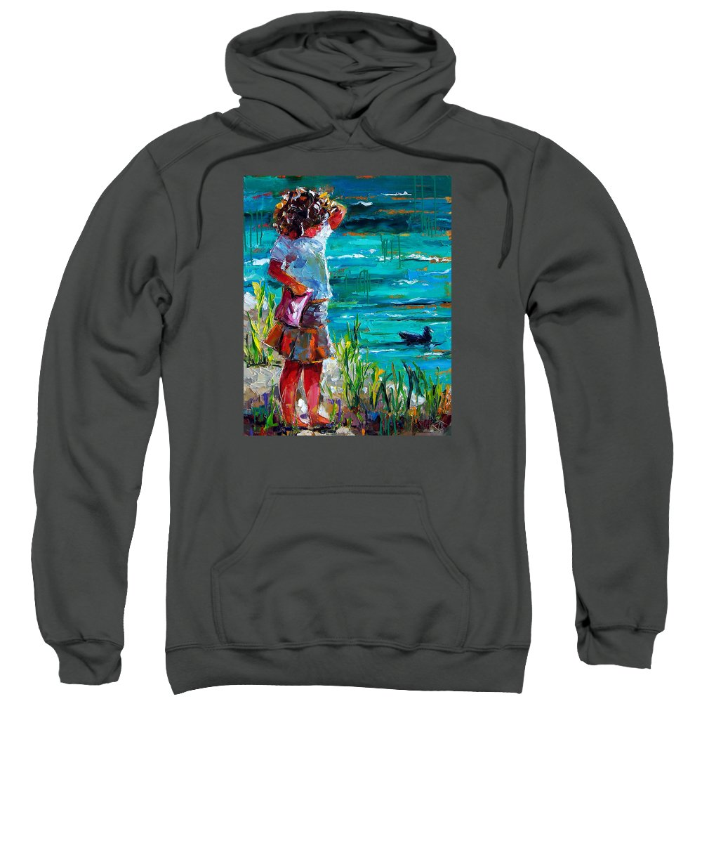 Children Sweatshirt featuring the painting One Lucky Duck by Debra Hurd