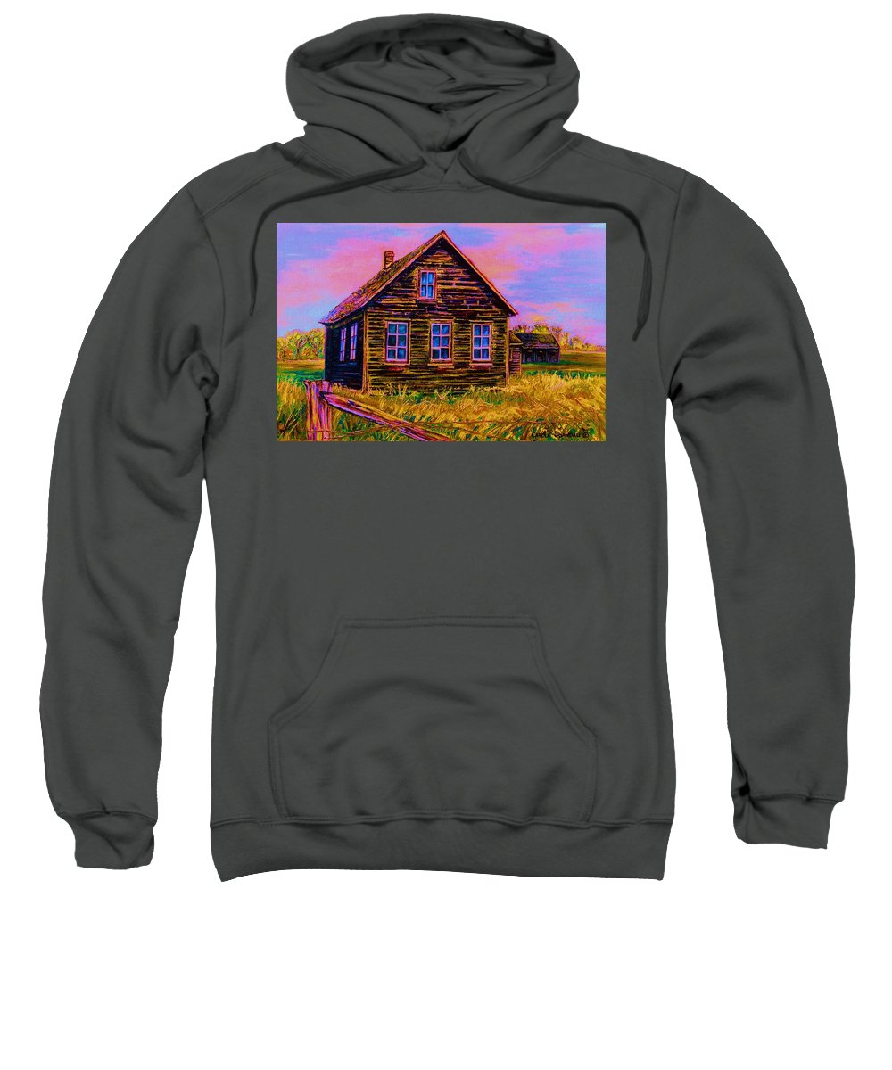 Western Art Sweatshirt featuring the painting One Room Schoolhouse by Carole Spandau
