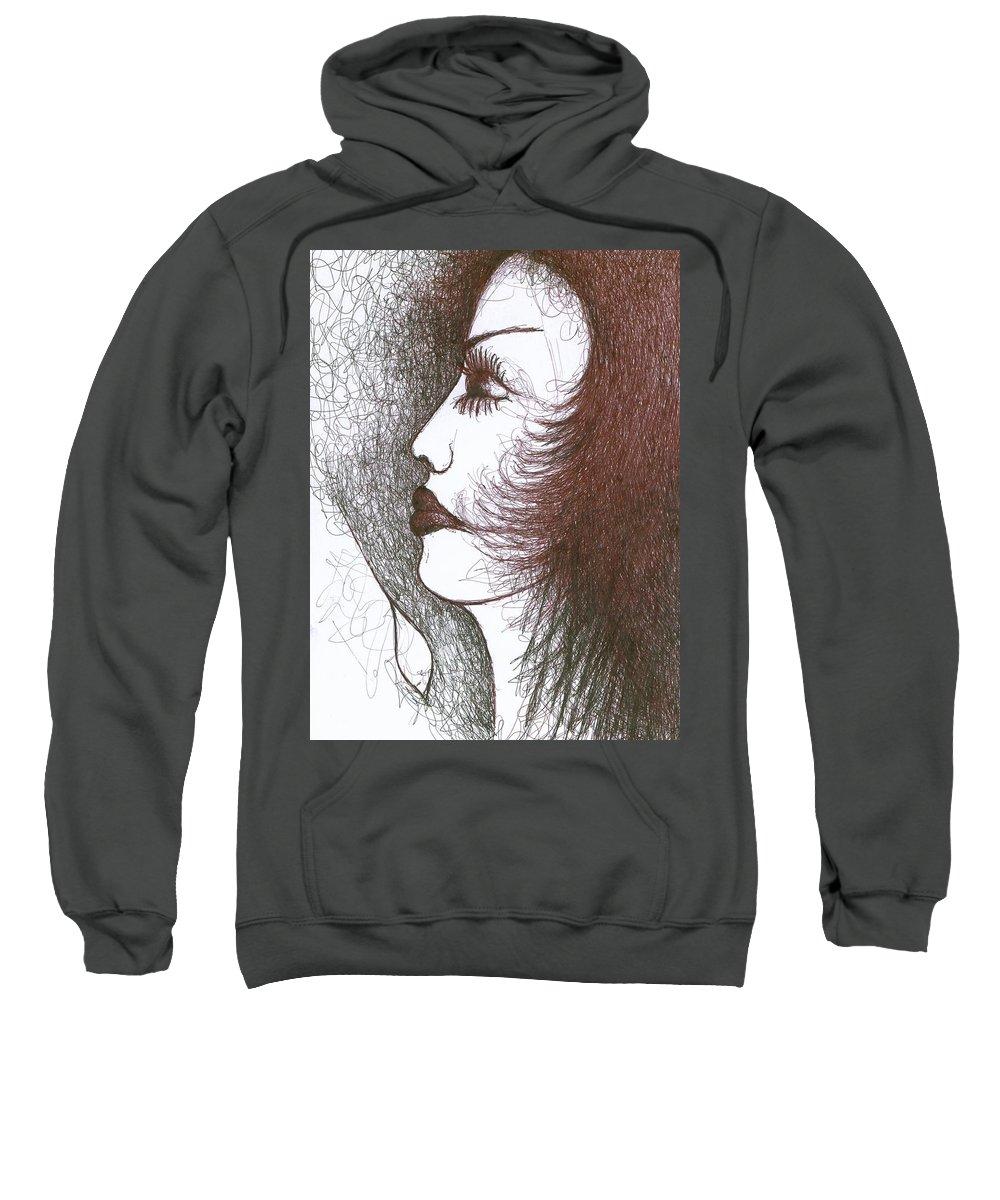 Naive Sweatshirt featuring the drawing One Tear by Wojtek Kowalski