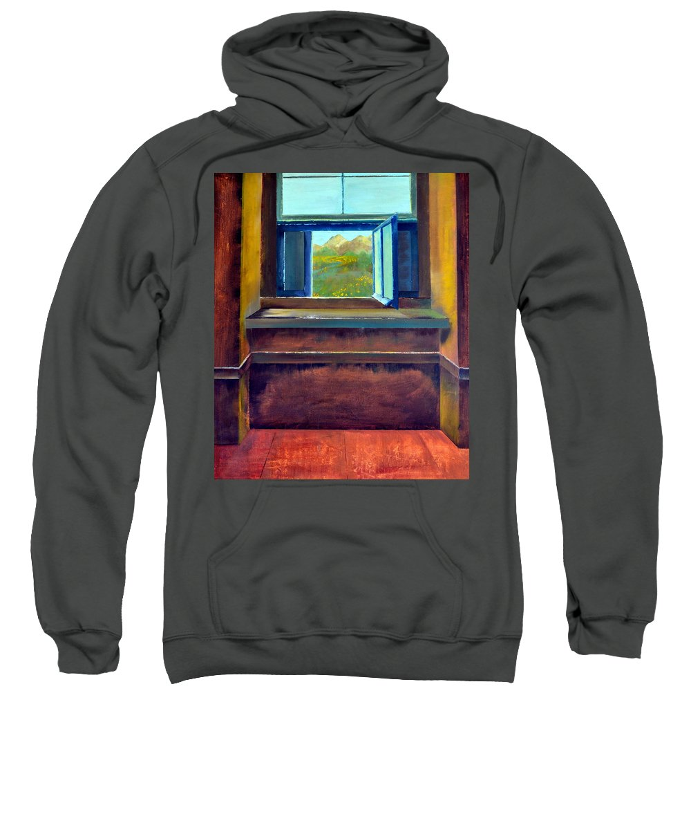Trompe L'oeil Sweatshirt featuring the painting Open Window by Michelle Calkins