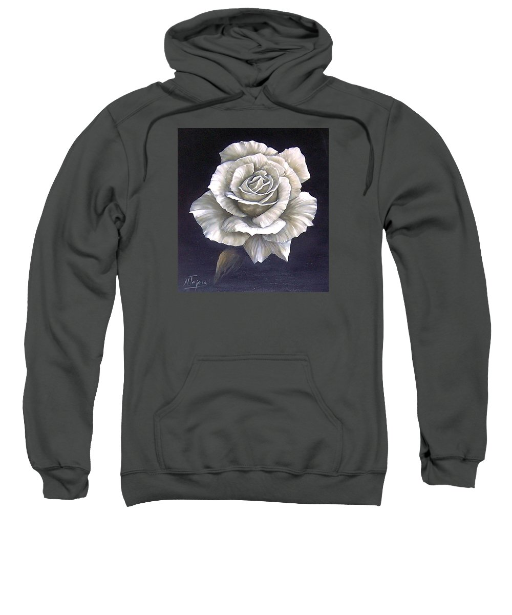 Rose Flower Sweatshirt featuring the painting Opened Rose by Natalia Tejera