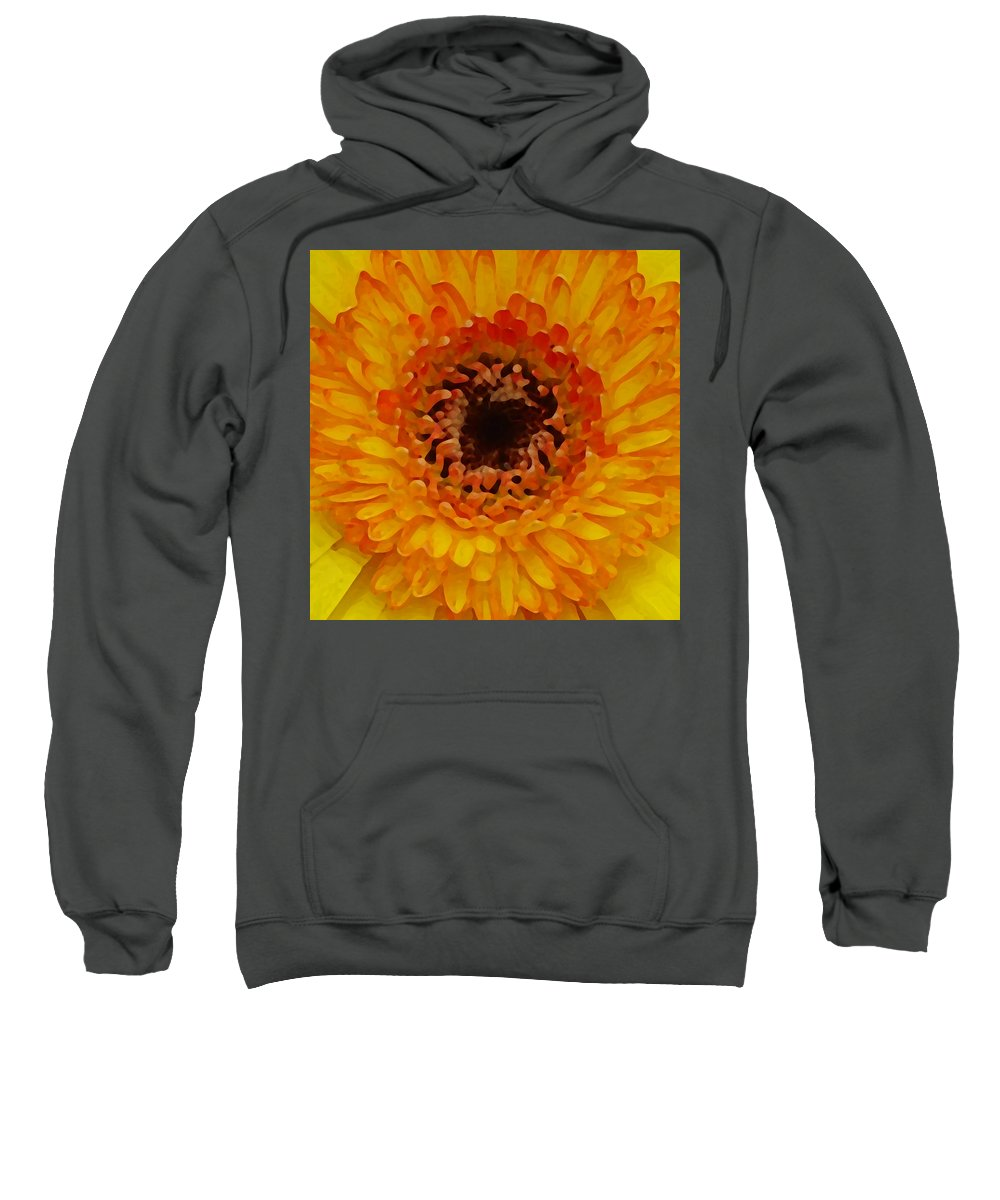 Daisy Sweatshirt featuring the painting Orange And Black Gerber Center by Amy Vangsgard