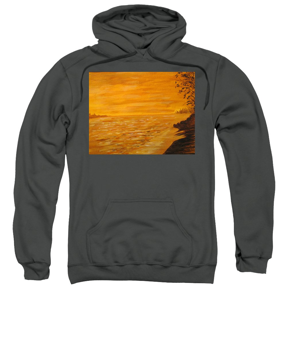 Ocean Sweatshirt featuring the painting Orange Beach by Ian MacDonald