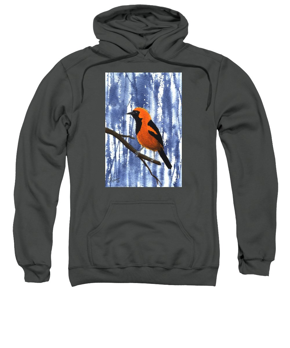 Bird Sweatshirt featuring the painting Orange-headed Oriole by Lynn Quinn