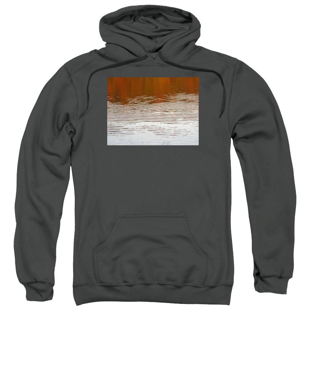 Water Sweatshirt featuring the photograph Reflections Of Fall Leaves And Sunlit Ripples On Jamaica Pond by Giora Hadar