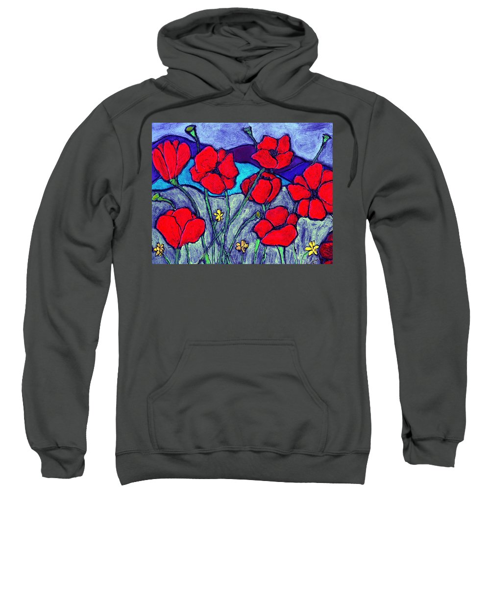 Flowers Sweatshirt featuring the painting Orange Red Poppies by Wayne Potrafka