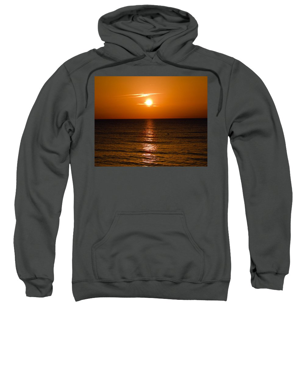 Sun; Rise; Sunrise; Orange; Florida; Morning; Solar; Ocean; Sea; Shore. Coast; Beach; Calm; Waves; S Sweatshirt featuring the photograph Orange Sunrise Over A Florida Beach by Allan Hughes