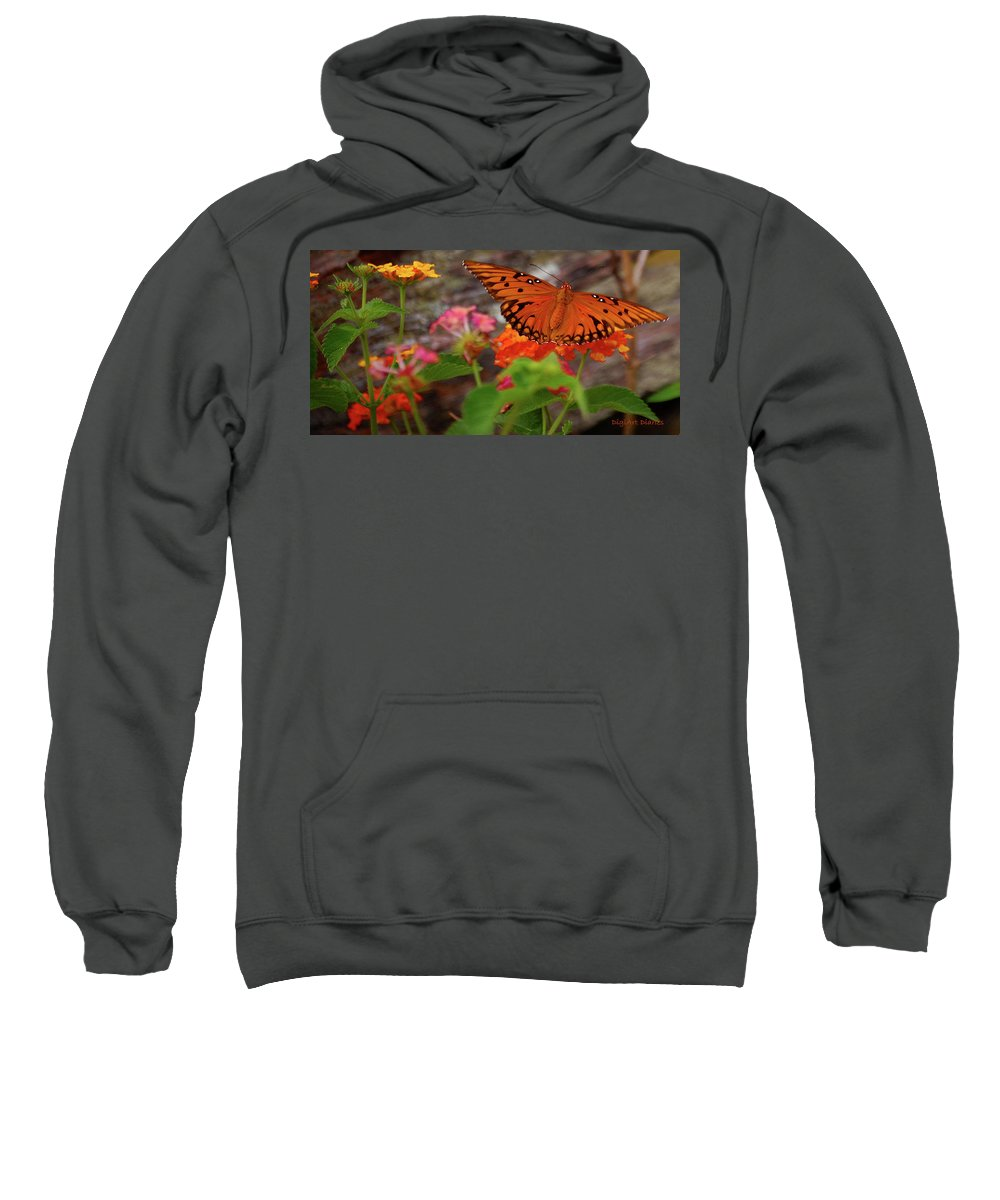 Butterfly Sweatshirt featuring the digital art Orange You Pretty by DigiArt Diaries by Vicky B Fuller
