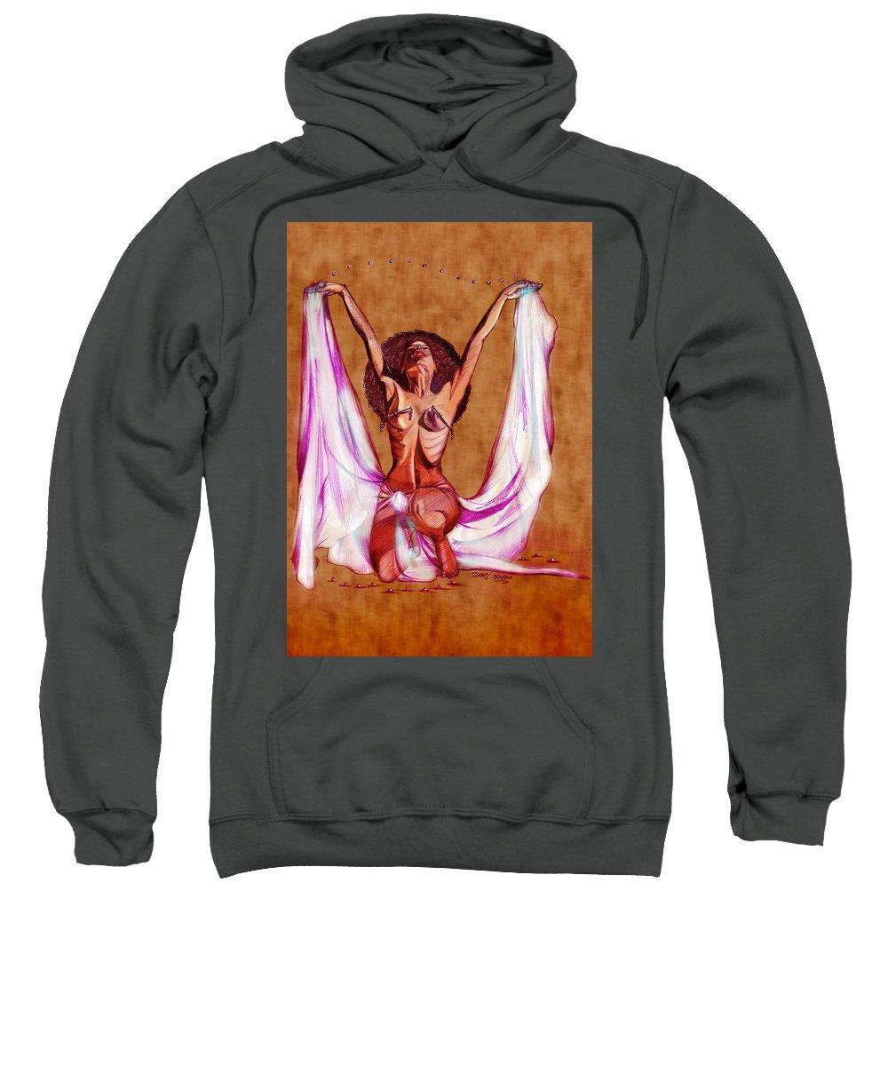 Orbs Sweatshirt featuring the drawing Orbs Brown by Terri Meredith