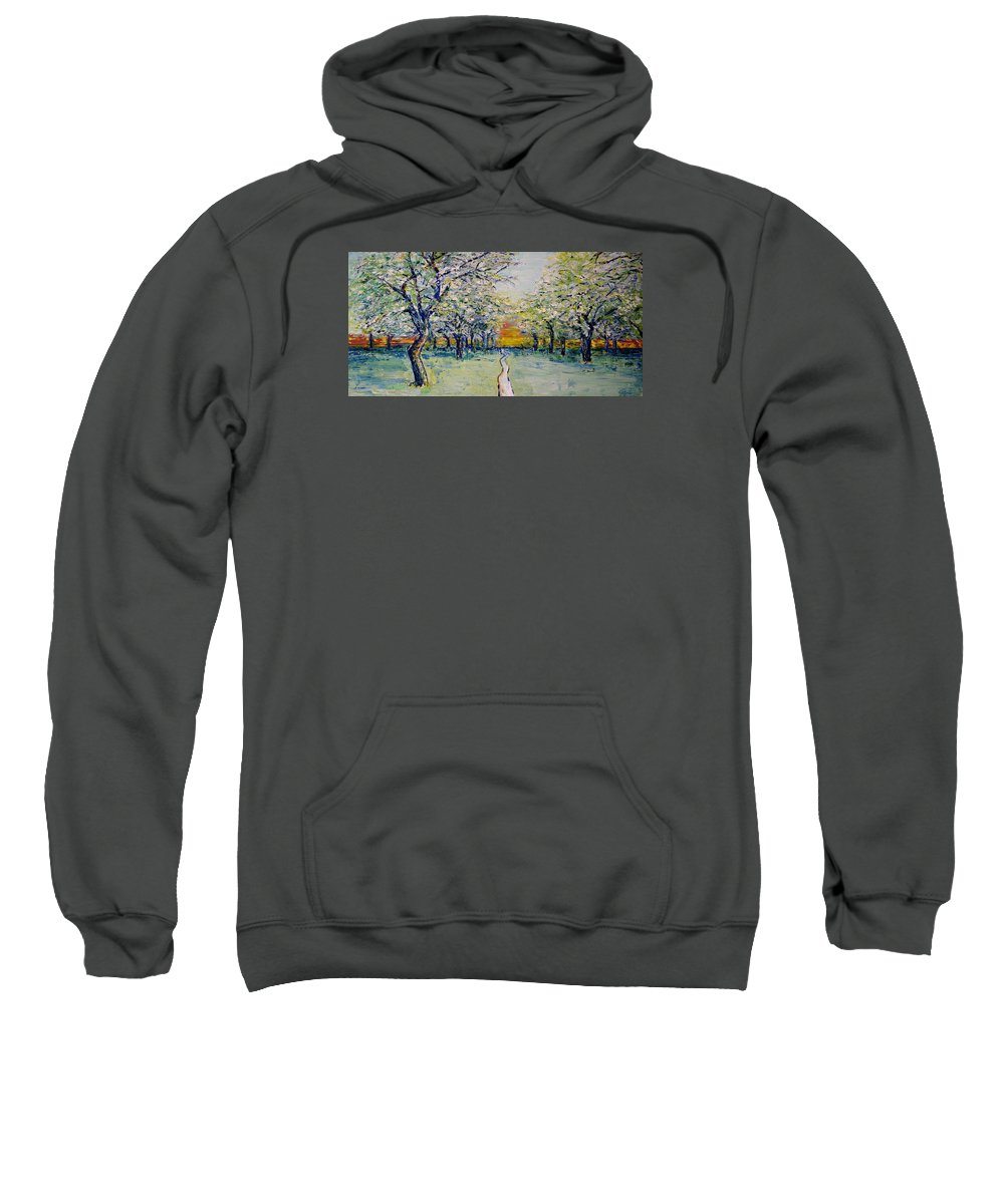 Impressionism Sweatshirt featuring the painting Orchard Path by Jo Gerrior
