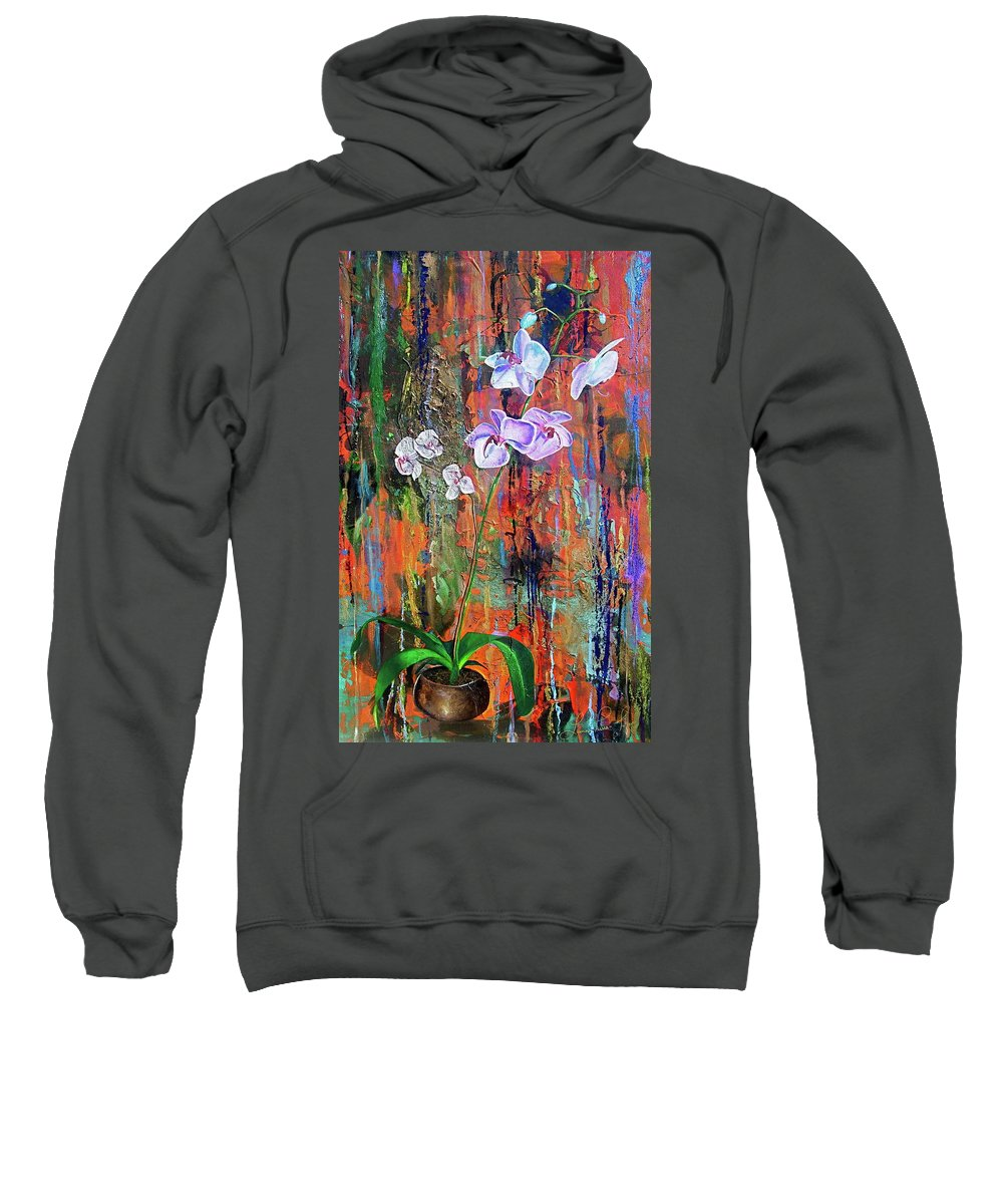 Orchid Art Sweatshirt featuring the painting Orchid O by Laura Pierre-Louis