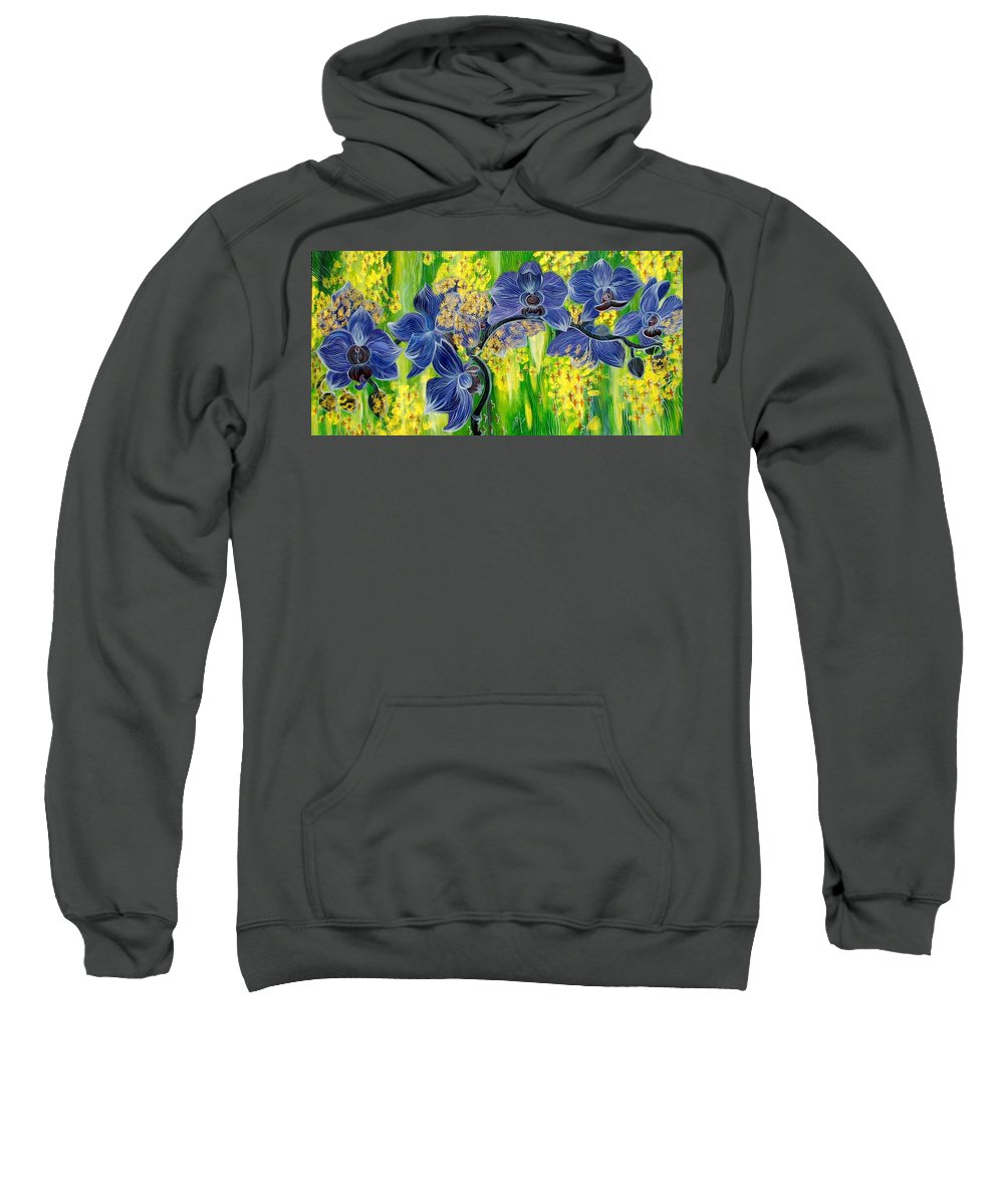 Inga Vereshchagina Sweatshirt featuring the painting Orchids In A Gold Rain by Inga Vereshchagina