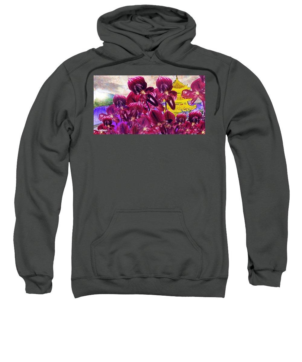 Far East Sweatshirt featuring the digital art Oriental Orchid Garden by Seth Weaver