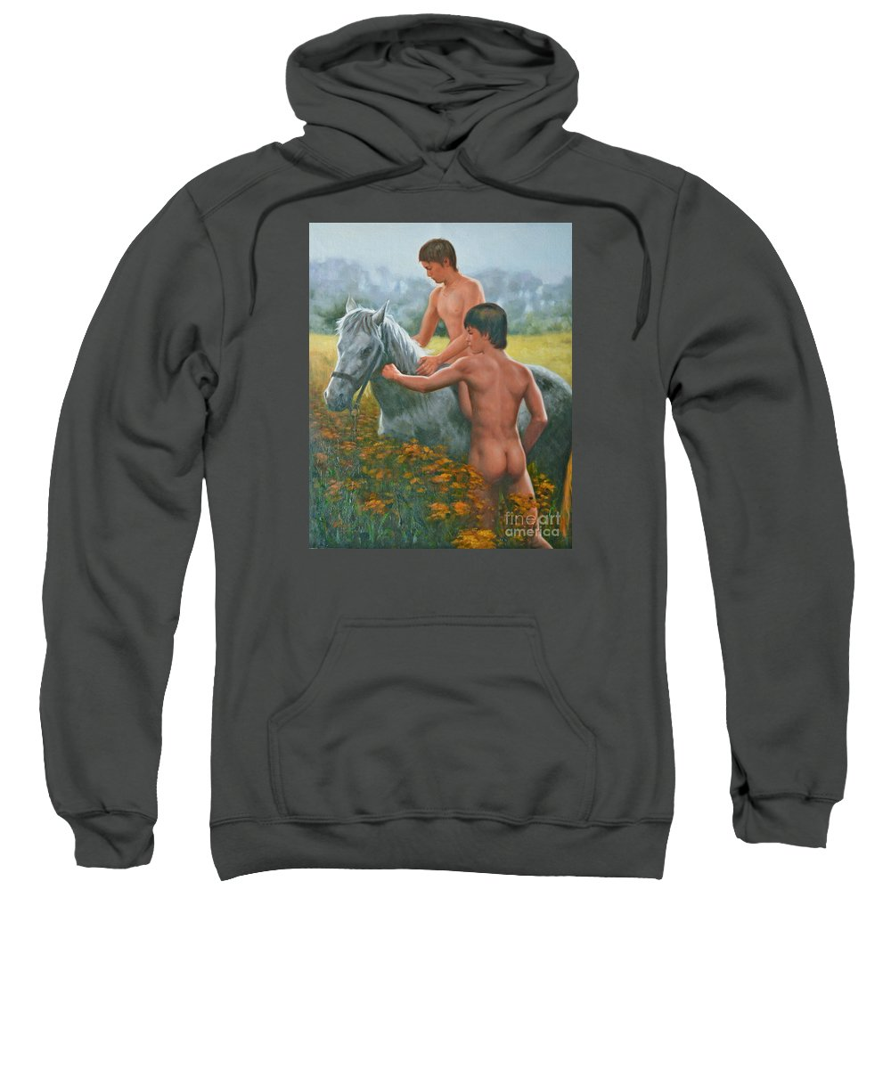 Art Sweatshirt featuring the painting Original Oil Painting Gay Interest Male Nude Boy And Horse On Linen-0026 by Hongtao   Huang