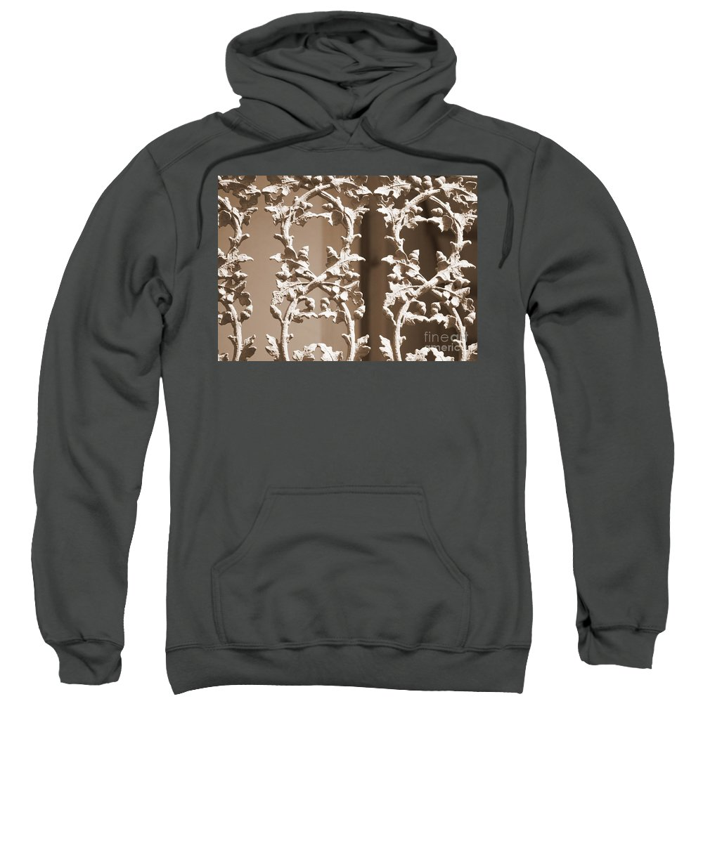 Railing Sweatshirt featuring the photograph Ornate Railing In Sepia by Carol Groenen