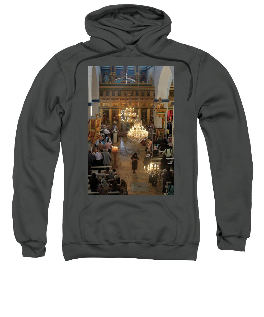 Orthodox Sweatshirt featuring the photograph Orthodox Mass by Munir Alawi