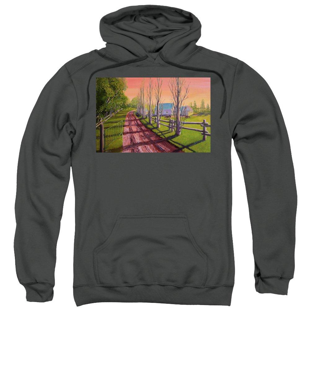 Farmland Sweatshirt featuring the painting Orwell Farm by Lorraine Vatcher