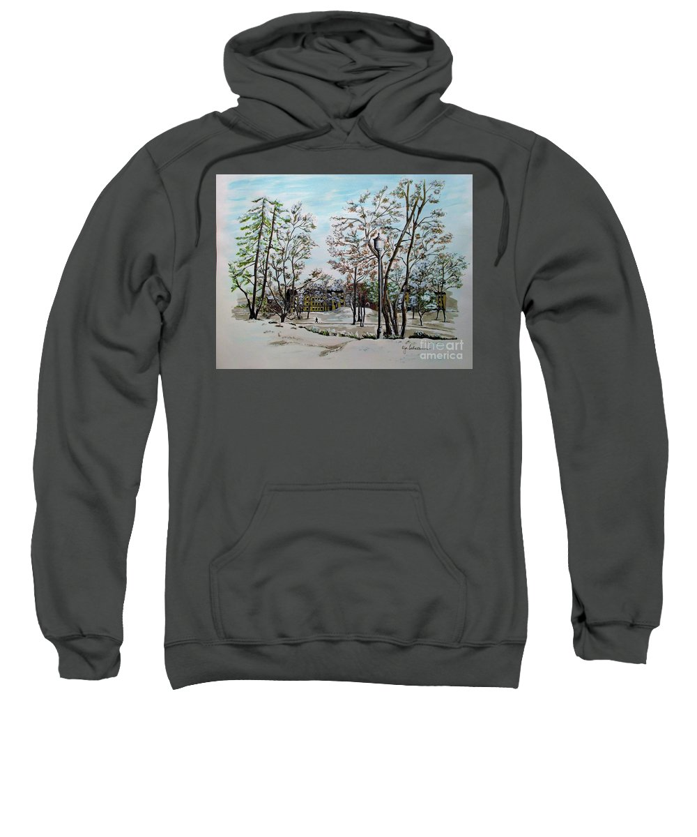 Oslo Sweatshirt featuring the painting Oslo In Winter by Olga Silverman