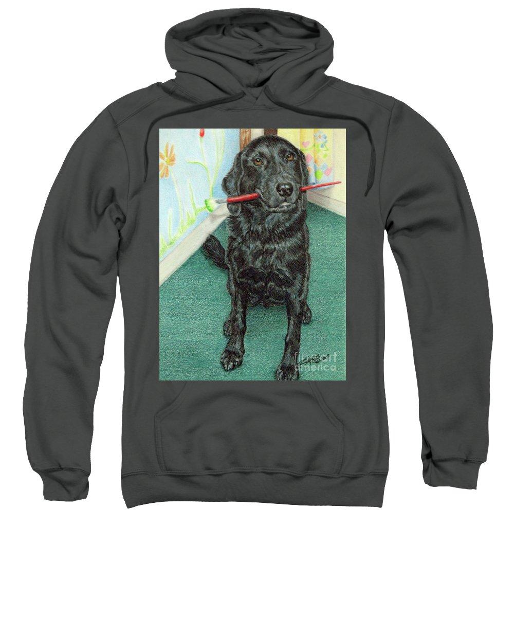 Fuqua - Artwork Sweatshirt featuring the drawing Otis-se by Beverly Fuqua