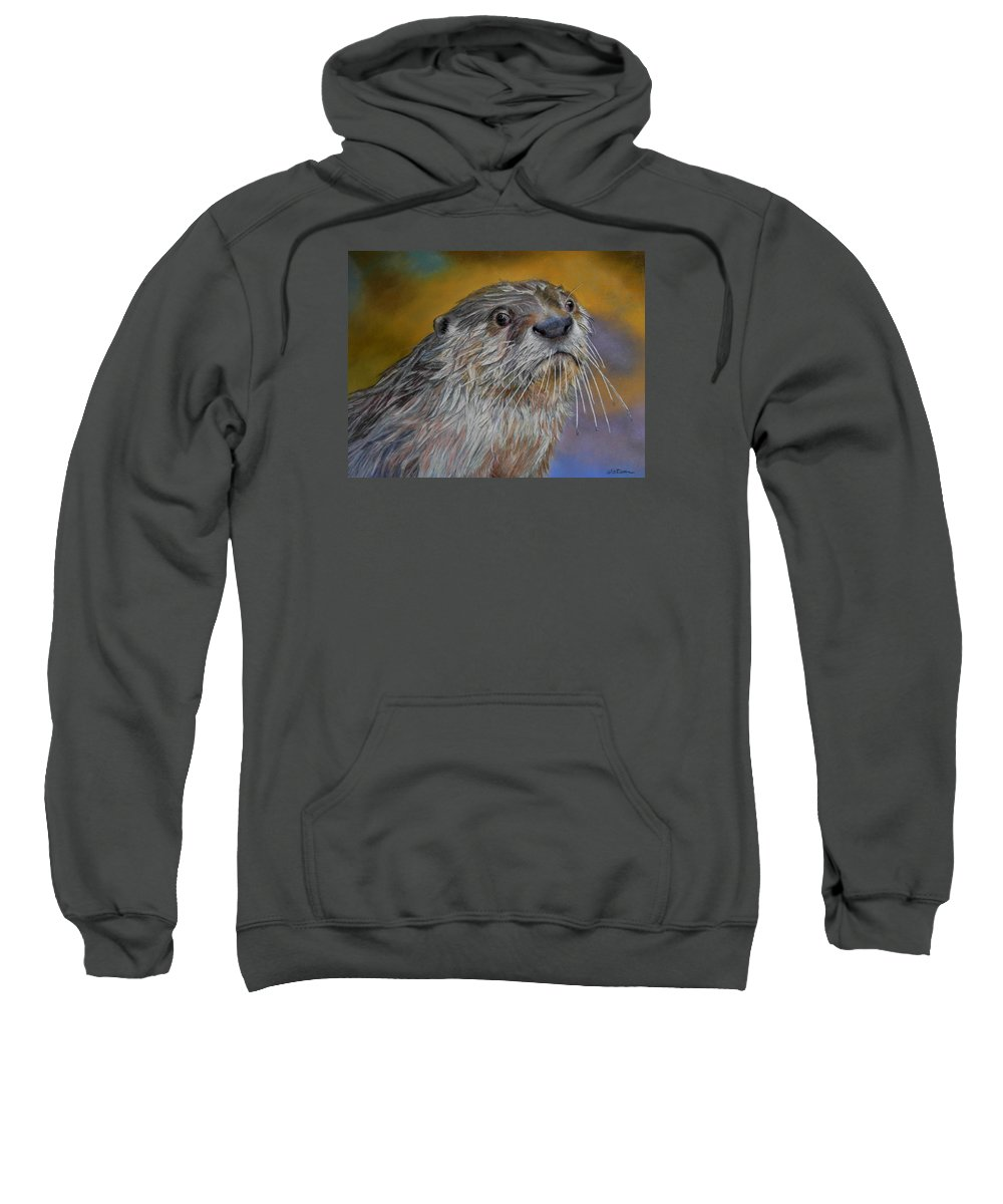 River Otter Sweatshirt featuring the painting Otter Or Not by Ceci Watson