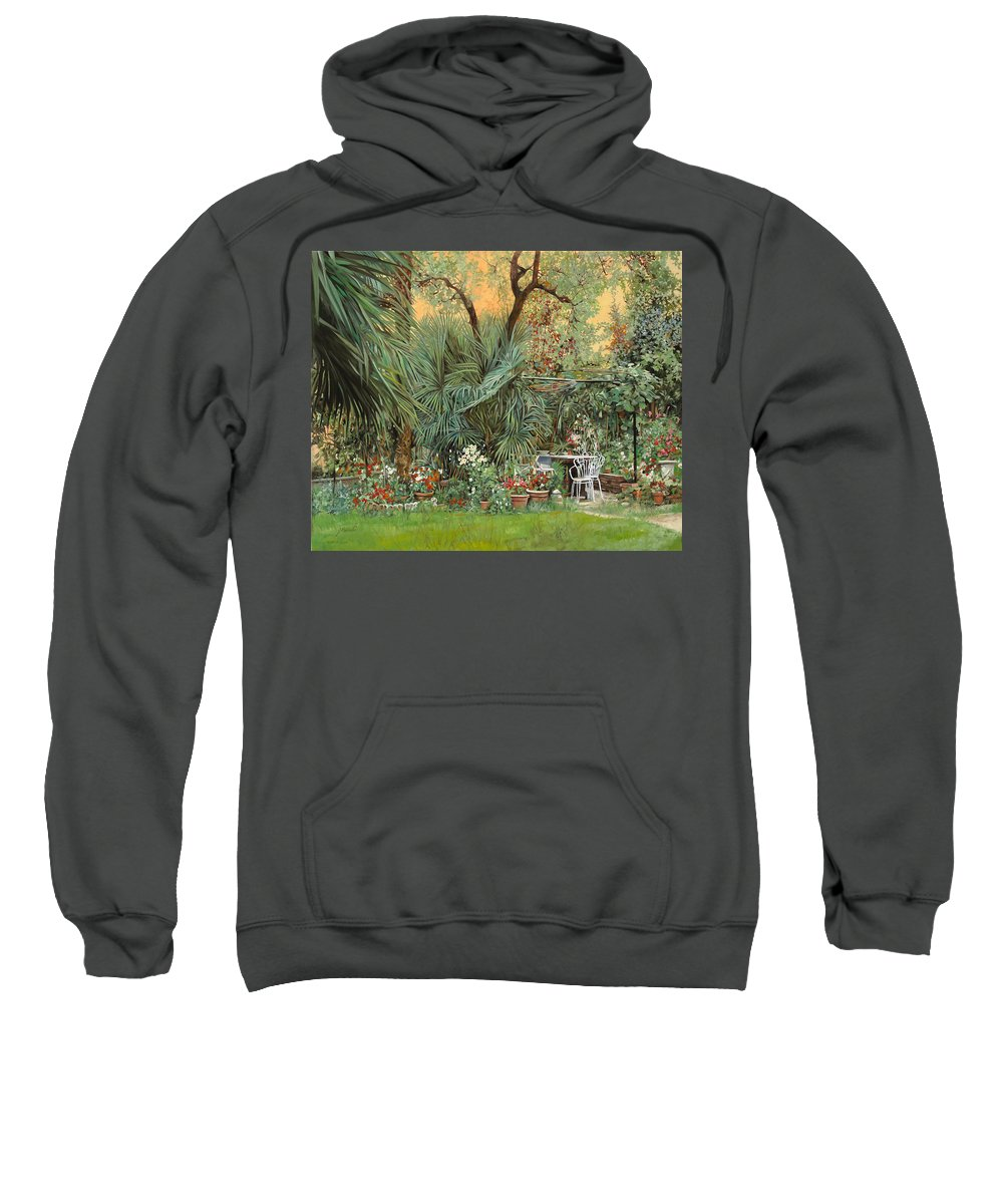 Garden Sweatshirt featuring the painting Our Little Garden by Guido Borelli