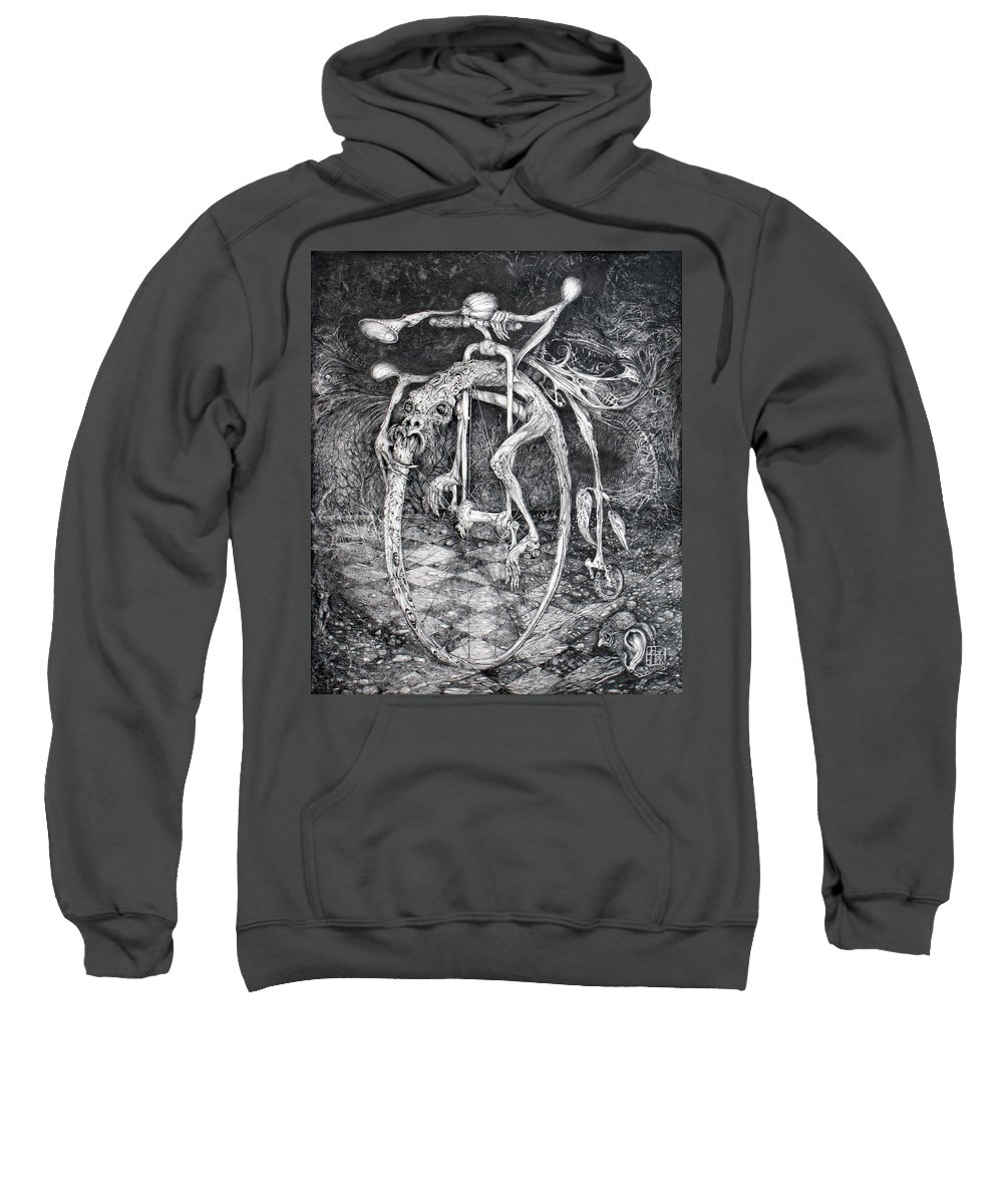 Ouroboros Sweatshirt featuring the drawing Ouroboros Perpetual Motion Machine by Otto Rapp