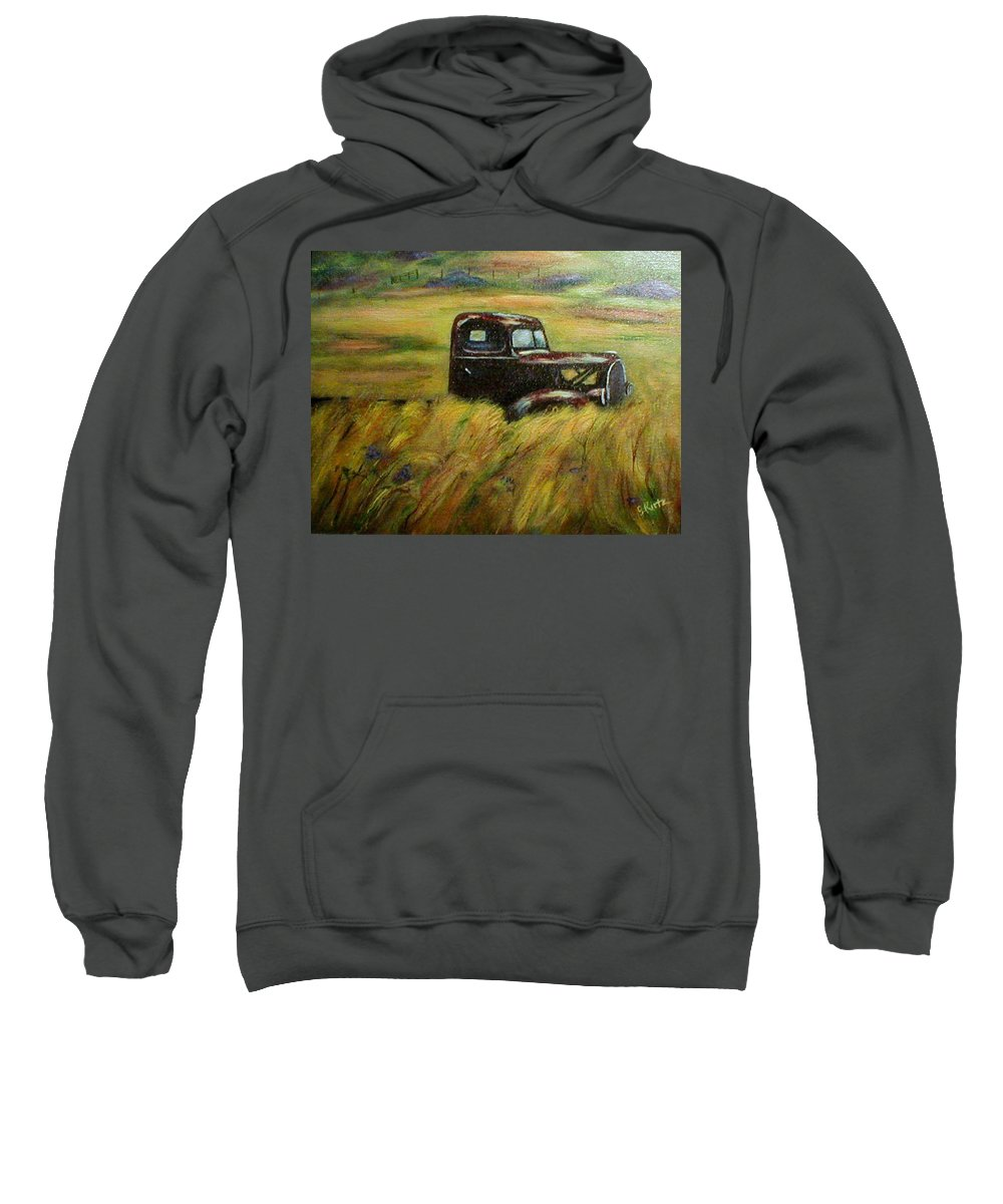 Vintage Truck Sweatshirt featuring the painting Out To Pasture by Gail Kirtz
