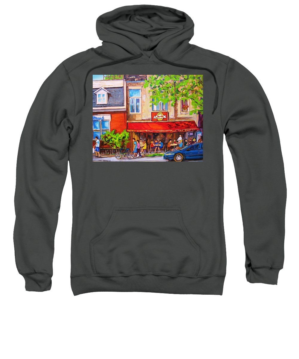 Montreal Sweatshirt featuring the painting Outdoor Cafe by Carole Spandau