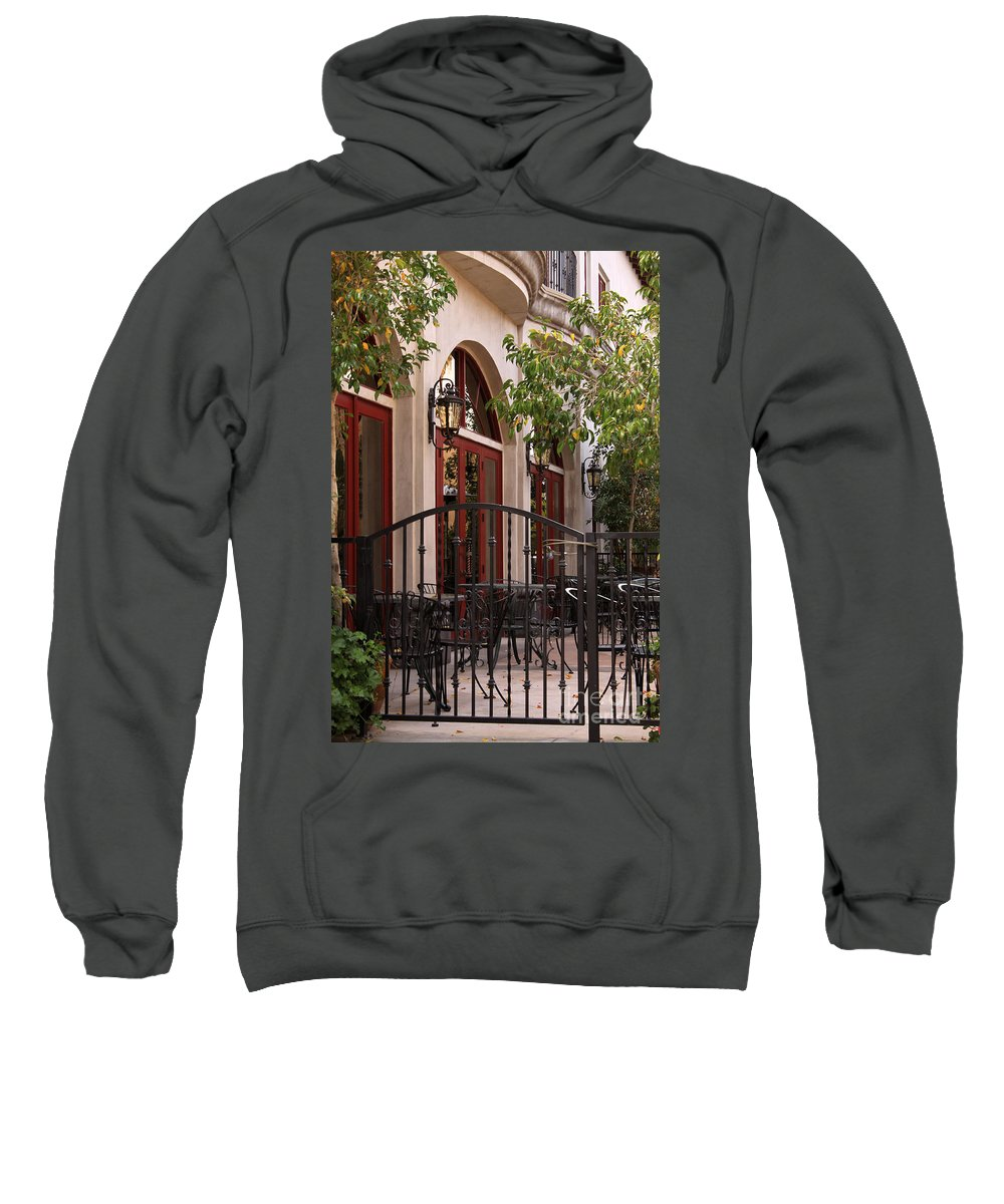 Outdoor Sweatshirt featuring the photograph Outdoor Restaurant by James Eddy