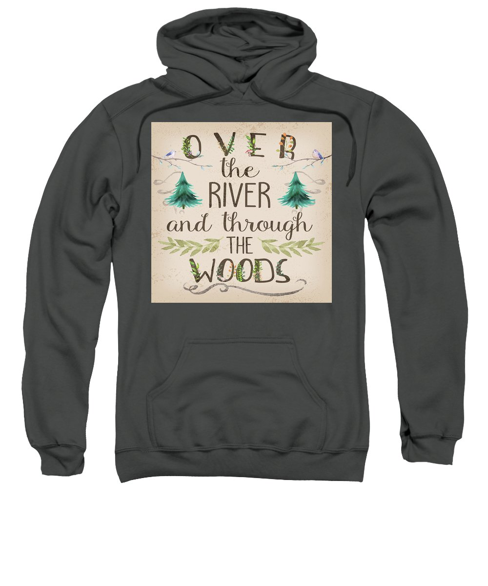 Over The River And Through The Woods Sweatshirt featuring the digital art Over The River And Through The Woods Woodland by Pink Forest Cafe