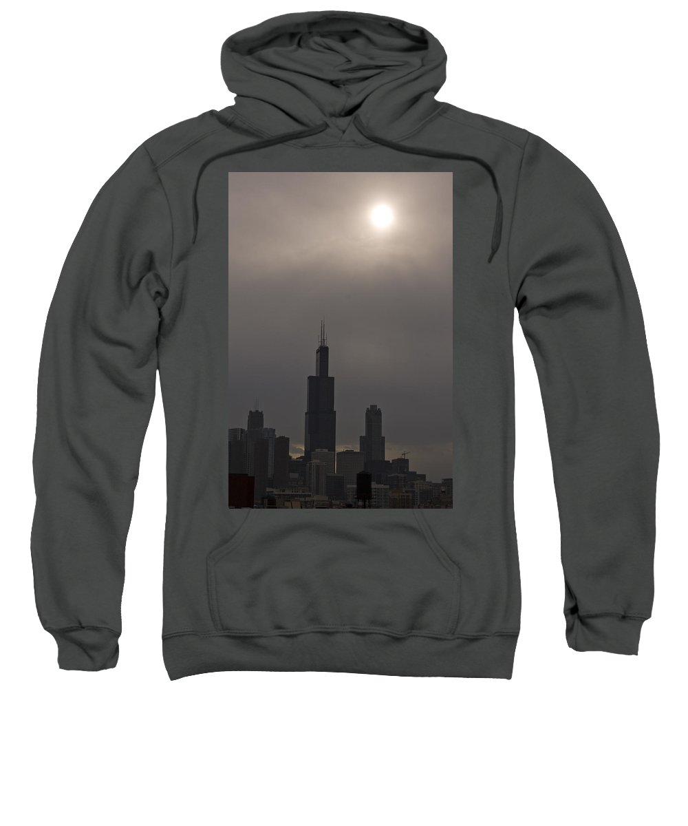 Chicago Windy City Skyline Skyscraper Willis Tower Sears Urban Metro Sun Cloud Cloudy Sweatshirt featuring the photograph Over The Willis Tower by Andrei Shliakhau