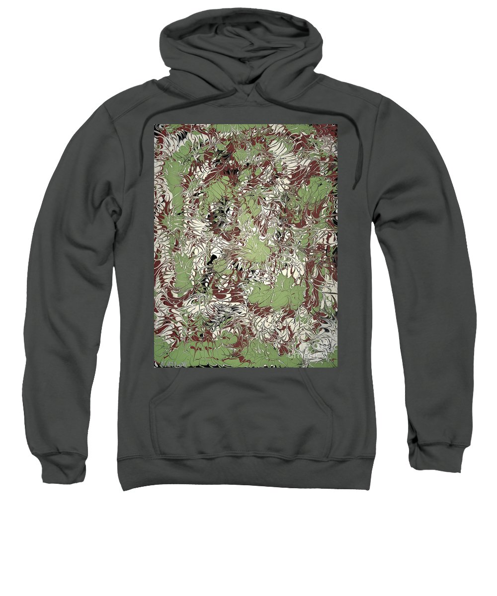 Keith Elliott Sweatshirt featuring the painting Overactive Christmas Celebration - V1vs52 by Keith Elliott