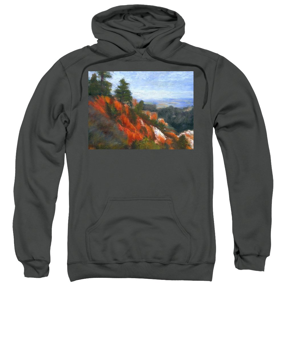 Southwest Sweatshirt featuring the painting Overlook by Gail Kirtz