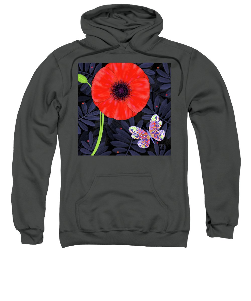 Letter Sweatshirt featuring the mixed media P Is For Pretty Poppy by Valerie Drake Lesiak