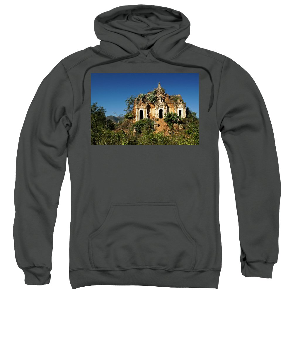 Asia Sweatshirt featuring the photograph Pagoda In Ruins by Michele Burgess