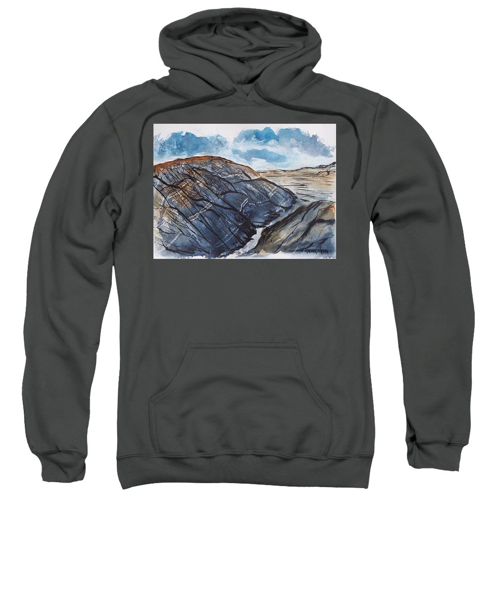 Plein Air Sweatshirt featuring the painting Painted Desert Landscape Mountain Desert Fine Art by Derek Mccrea