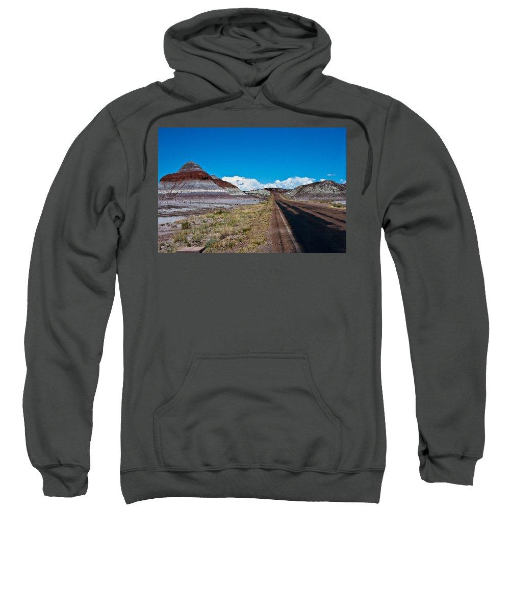 Painted Sweatshirt featuring the photograph Painted Desert Road #3 by Robert J Caputo