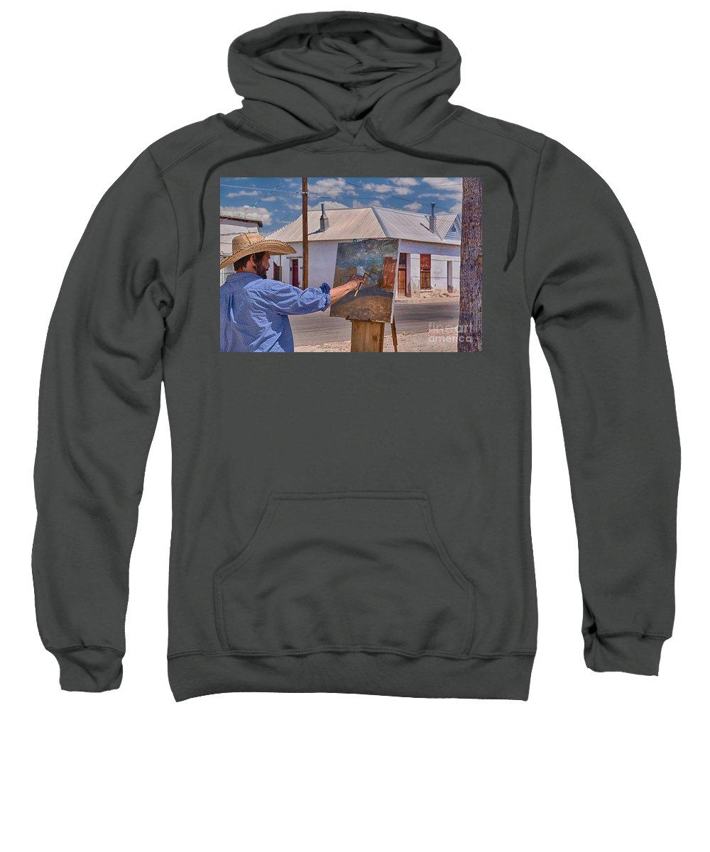 Painting Barrio Viejo Sweatshirt featuring the photograph Painting Barrio Viejo by Priscilla Burgers