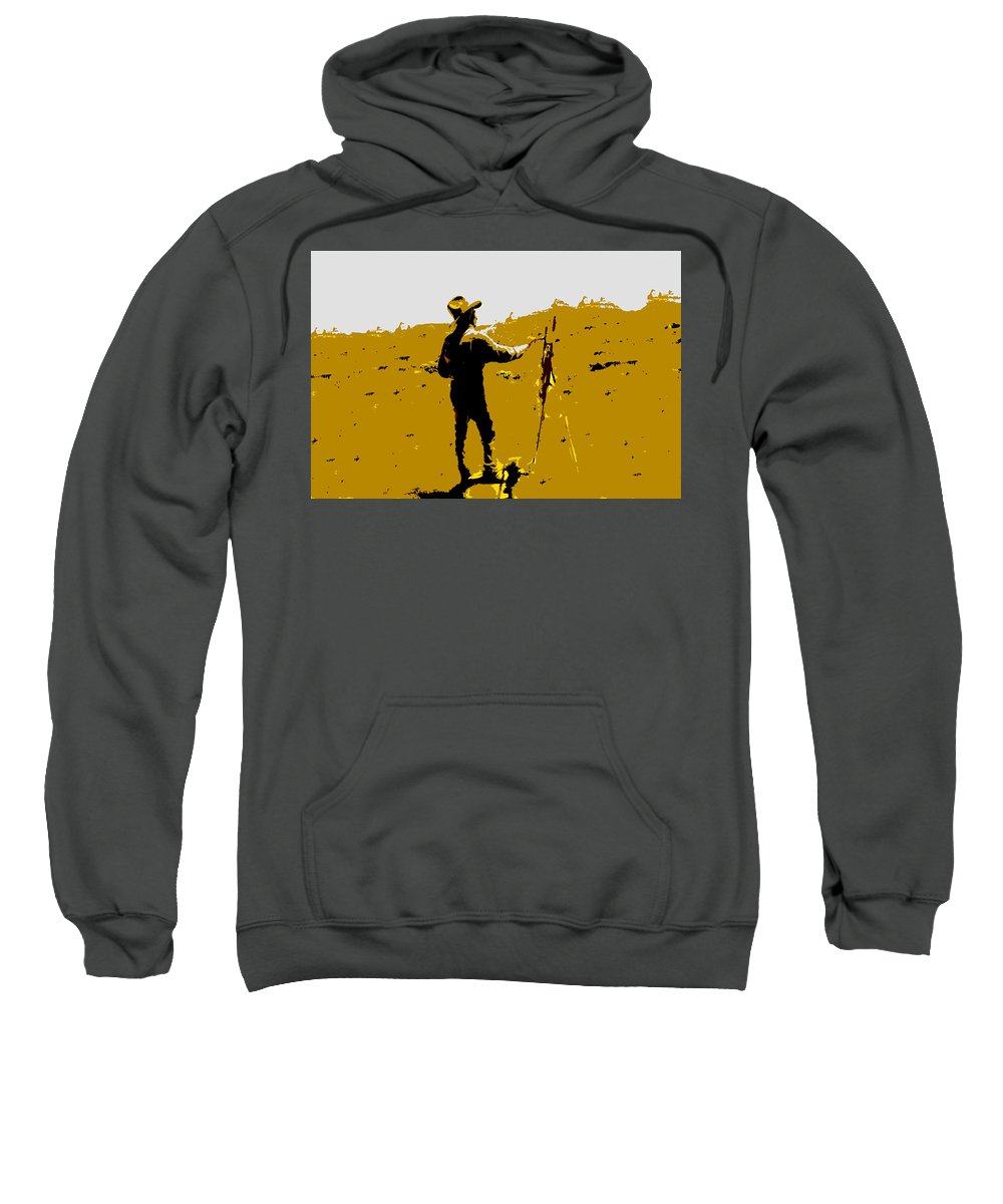 Painting Sweatshirt featuring the painting Painting Cowboy by David Lee Thompson